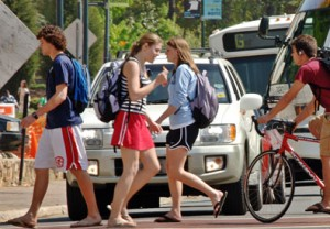 Students crossing South Road