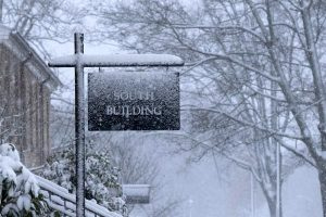 Snow on South Building Sign